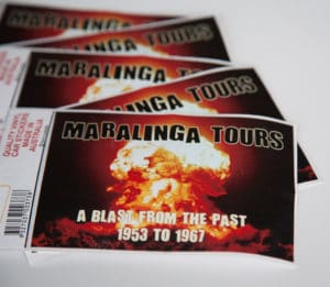 Maralinga Tours Car Sticker, scattered